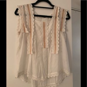 Love Sam white sleeveless Top w lace. Size S